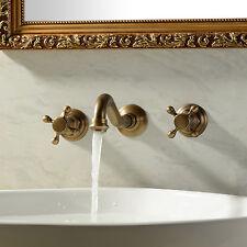 Antique golden Solid Brass 3-Hole Sink Faucet Bathroom Basin Mixer Wall Mount
