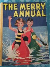 Vintage 1945 THE MERRY ANNUAL CHILDREN CHRISTMAS 1940S Book BEAUTIFUL PICTURES