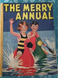 75th Birthday gift Vintage 1945 THE MERRY ANNUAL CHILDREN CHRISTMAS 1940S Book