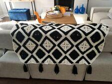 Vintage Handmade White Black QUILT AFGHAN CROCHET Tassels Granny