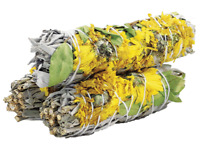 Sunflower Floral Sage Smudge Sticks with Organic White Sage  | Pack of 3