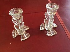 PAIR OF VINTAGE GLASS CANDLESTICKS / CANDLE HOLDERS