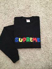 Custom Supreme x Super Mario T Shirt Sz Medium Black Long Sleeve