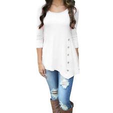 Plus Size Women's Loose Long Sleeve Irregular Casual Tops T-Shirt Blouse Fashion