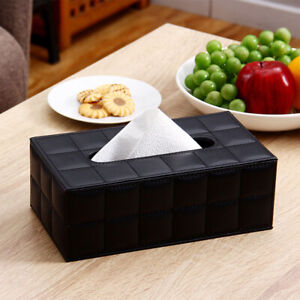 Leather Tissue Box Holder Cover Napkin Case Table Car Room Office Elegant Home