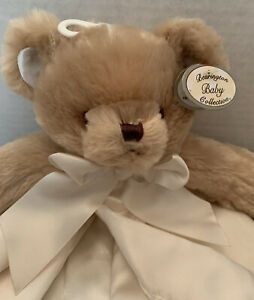 Bearington Baby Collection Brown Bear Lovey Security Blanket Ivory Satin. NEW