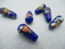 Vintage Glass Teardrop Beads Pear Beads Blue Tombo Beads 15X9mm - From Japan