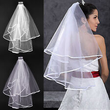 White Ivory 2T Wedding Bridal Veil Satin Edge With Comb Elbow Elegant Cathedral