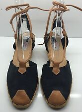 FRANKIE and BABY Black Suede W/ Leather Toe & Straps Espadrille Shoe Size 9M