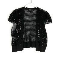 Bcbg Max Azria Women Loose Knit Shrug Sweater Black Sequin Cap Sleeve Silk L