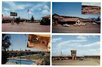 LOT OF 4 ~ Arizona hotels motels ~ 1950s cars ~ vintage Roadside postcards