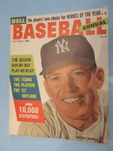 1957 DELL BASEBALL ANNUAL #6 - Mickey Mantle Cover -VF/NM - NY Yankees