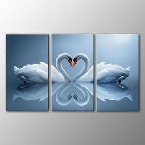 FRAMED Canvas Prints Home Decor Swan Couple Wall Art Canvas Painting Print-3pcs