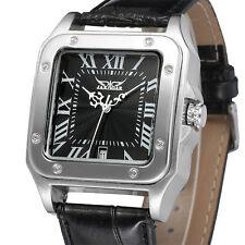 JARAGAR Luxury Dress Square Automatic Mechanical Men's Leather Band Wrist Watch
