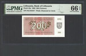 Lithuania 200 Talona 1992 P43a Uncirculated Graded 66
