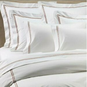 Frette At Home Piave Duvet Cover Queen White & Caramel Cotton Sateen Portugal