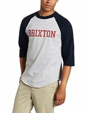 Brixton Men Bracket Fashion T-Shirt Heather Grey/Navy - Small
