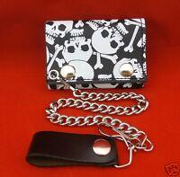 Biker Chain Wallet Trifold White Skull Crossbones Black Leather Trucker USA Made