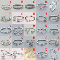 Solid Sterling Silver 925 Adjustable Open Band Index finger Midi Ring Lady Gift