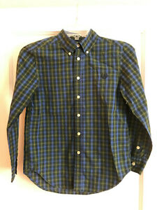 Chaps Boys Button Shirt Size M 10-12 Blue Green Yellow Long Sleeve Easy Care