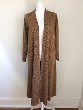Lularoe Small Sarah Duster Cardigan Sweater Long Bronze Leaves Gold Rose Caramel
