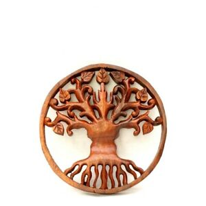 Tree of Life Wall Hanging Plaque Genuine Woodcarving 19cms Christmas Gift Idea
