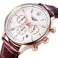 Luxury Men's Wrist Watch Sports Date Wristwatch Chronograph Swiss Leather Quartz