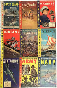 Lot of 9 Classic Illustrated - THE WORLD AROUND US - US Navy, Indians, Vikings