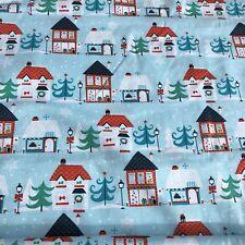 Christmas Fabric Holiday Whimsical Houses Holiday Fat Quarter Retro Aqua Red