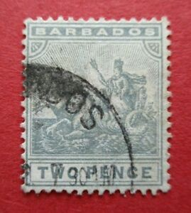 SG166 Barbados Edward VII 1909 2d Greyish Slate Used CDS