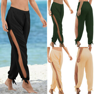 Womens Holiday Pants Ladies Yoga Loose Rockabilly Sport Wide Leg Slit Trousers