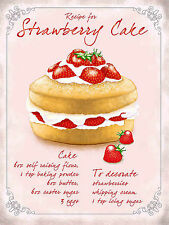 Strawberry Cake, Retro Vintage Metal Sign Wall Plaque Shabby Chic Cafe Kitchen