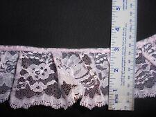 "PASTEL PINK  3"" Gathered Ruffled  100% Polyester Lace (5 yards)"