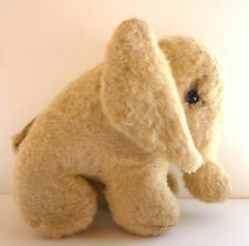 Elephant Stuffed Toy Animal Wool Blonde Beige  7 inch Glass Eyes 1950's Vtg