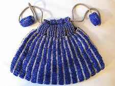 Antique Art Deco Tan Knit Crochet Cobalt Blue Bead Ball Drawstring Flapper Purse