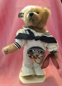 Navy Sailor Bear Casey / Brass Buttons Bears Stuffed Plush Toy w Ensignia Medal