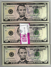 "2006 ""IA-A"" Boston $5 Half PACK Strap $250FV 50 Consecutive Notes Colorized"