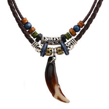 1PC Men's Bohemia Wolf Tooth Pendant Leather Beaded Weaved Necklace Gift Jewelry