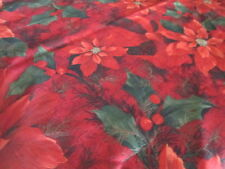 Extra Large Bright Red Poinsettia Tablecloth Christmas Holiday 60x102 Rectangle