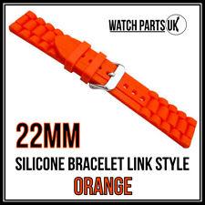 * 22mm naranja estilo de Enlace Pulsera Silicona Goma Reloj Correa De Alta Calidad *