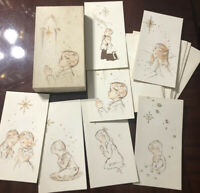 Vintage Christmas Cards & Envelopes Set 1950's With Box Divine Prayers 12