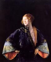 Oil painting joseph rodefer de camp - the blue mandarin coat young woman canvas
