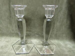 Vintage 1930's Central Glass Company Clear Chippendale Pattern Tall Candlesticks