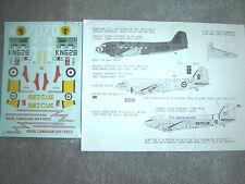"C-47 DAKOTA ""2 USAAF/RCAF RESCUE/RAF"" MICROSCALE DECALS 1/72"