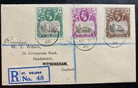 1926 St Helena Registered Cover To Birmingham  England Sc#80 84 86