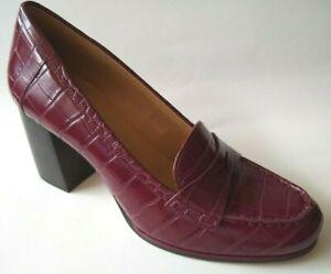 BRAND NEW MICHAEL KORS Size 10 Dark Berry Embossed Croc Loafer Heel Shoes