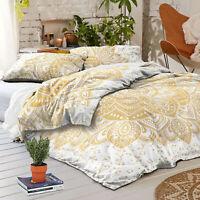 White Gold Ombre Queen Duvet Cover Pillow Case Boho Royal Indian Mandala Bed