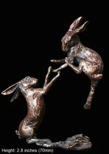 Boxing Hares Solid Bronze Foundry Cast Sculpture 7cm high Butler & Peach [2012]