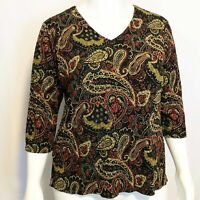 Notations Woman Plus Size 1X Paisley Print Metallic Stretch Top