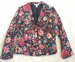 Analogy Floral On Black Embroidered Polyester Jacket Size Medium